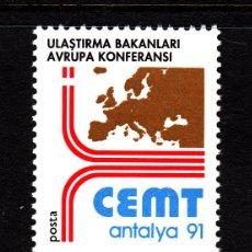 Sellos: TURQUIA 2673** - AÑO 1991 - CONFERENCIA DE MINISTROS EUROPEOS DE TRANSPORTES. Lote 158313618