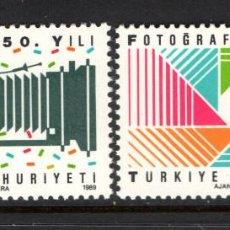Sellos: TURQUIA 2613/14** - AÑO 1989 - 150º ANIVERSARIO DE LA FOTOGRAFIA. Lote 57777059