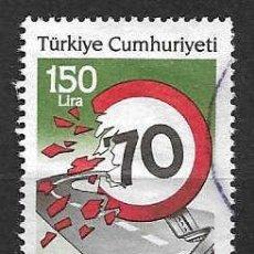Sellos: SEGURIDAD VIAL. TURQUIA. SELLO AÑO 1987. Lote 117505131