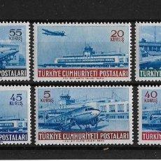 Sellos: TURQUIA 1954 CORREO AEREO AEROPUERTOS SERIE COMPLETA. Lote 119176687