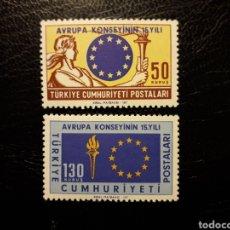 Sellos: TURQUÍA. YVERT 1688/9 SERIE COMPLETA NUEVA SIN CHARNELA. CONSEJO DE EUROPA. BANDERAS.. Lote 149657128