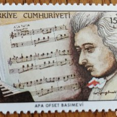 Sellos: TURQUIA: MÚSICA, COMPOSITORES, MOZART, MNH. Lote 154774492