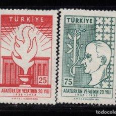 Sellos: TURQUIA 1414/15** - AÑO 1958 - 20º ANIVERSARIO DE LA MUERTE DE ATATURK. Lote 156861398