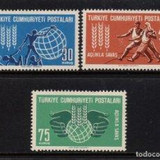 Selos: TURQUIA 1647/49** - AÑO 1963 - CAMPAÑA MUNDIAL CONTRA EL HAMBRE. Lote 157378410