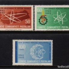 Sellos: TURQUIA 1652/54** - AÑO 1963 - CENTRO DE RECURSOS NUCLEARES. Lote 157378494