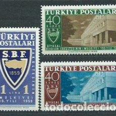 Sellos: TURQUIA - CORREO 1959 YVERT 1477/9 ** MNH. Lote 159071474