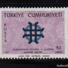 Sellos: TURQUIA 1843** - AÑO 1967 - EXPOSICION INTERNACIONAL DE CERAMICA. Lote 159112714