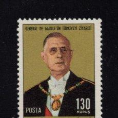 Sellos: TURQUIA 1880** - AÑO 1968 - VISITA DEL GENERAL DE GAULLE. Lote 159113962
