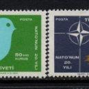 Sellos: TURQUIA 1888/89** - AÑO 1969 - 20º ANIVERSARIO DE LA OTAN. Lote 160150182