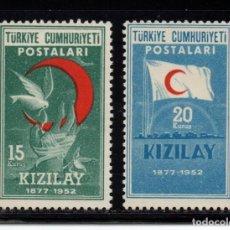 Selos: TURQUIA 1168/69** - AÑO 1952 - 75º ANIVERSARIO DE LA CRUZ ROJA. Lote 162266898