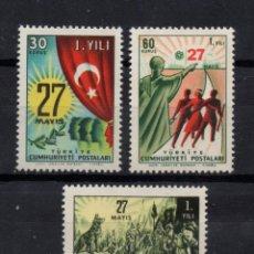 Sellos: TURQUIA 1588/90** - AÑO 1961 - ANIVERSARIO DE LA REVOLUCION DE MAYO. Lote 162271466