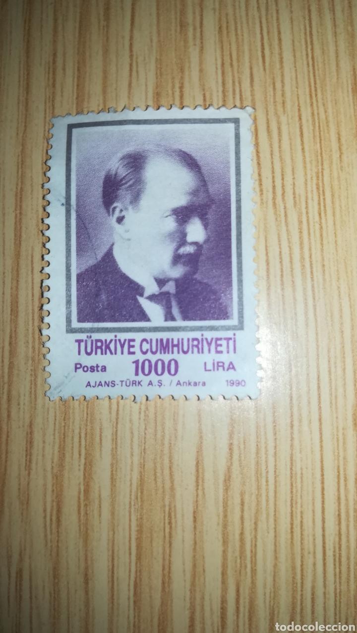 SELLO USADO TURQUÍA 1000 LIRA TURCA 1990 (Sellos - Extranjero - Europa - Turquía)