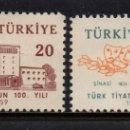 Sellos: TURQUIA 1421/22** - AÑO 1959 - CENTENARIO DEL TEATRO NACIONAL. Lote 166180162