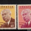 Sellos: TURQUIA 1321 YAEREO 37** - AÑO 1957 - VISITA DE THEODOR HEUSS, PRESIDENTE DE ALEMANIA FEDERAL. Lote 167434196