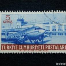 Sellos: TURQUIA, 5 KURUS, POSTAL AEREO, AÑO 1959, SIN USAR. Lote 176126625