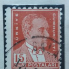 Sellos: TURQUIA, 15 KURUS, KAMAL ATATURK, AÑO 1951, SIN USAR. Lote 176126719