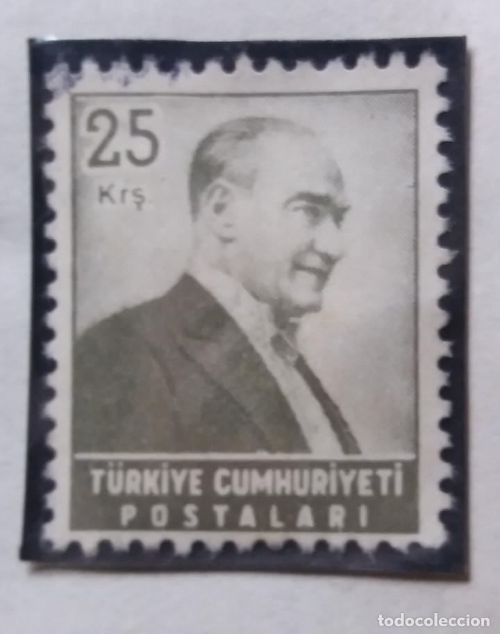 TURQUIA, 25 KURUS, KAMAL ATATURK, AÑO 1955, SIN USAR (Sellos - Extranjero - Europa - Turquía)