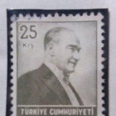 Sellos: TURQUIA, 25 KURUS, KAMAL ATATURK, AÑO 1955, SIN USAR. Lote 176127420
