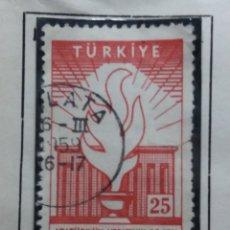 Sellos: TURQUIA, 25 KURUS, AÑO 1958, SIN USAR. Lote 176127565