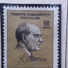 Sellos: TURQUIA, 50 KURUS, KAMAL ATATURK, AÑO 1955, SIN USAR. Lote 176128464