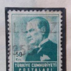Sellos: TURQUIA, 50 KURUS, KAMAL ATATURK, AÑO 1955, SIN USAR. Lote 176129510