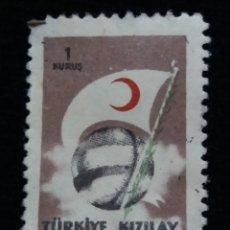 Sellos: TURQUIA, 1 KURUS, LUNA ROJA, AÑO 1954, SIN USAR. Lote 176209230