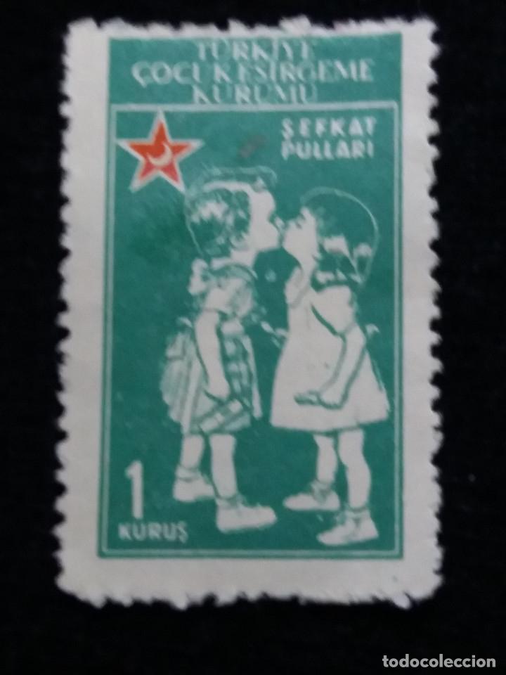 TURQUIA, 1 KURUS, LUNA ROJA, AÑO 1954, SIN USAR (Sellos - Extranjero - Europa - Turquía)