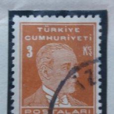 Sellos: TURQUIA, 3 KURUS, KAMAL ATATURK,, AÑO 1953, SIN USAR. Lote 176209485