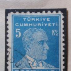 Sellos: TURQUIA, 5 KURUS, KAMAL ATATURK,, AÑO 1953, SIN USAR. Lote 176209575