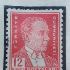 Sellos: TURQUIA, 12 KURUS, KAMAL ATATURK,, AÑO 1953, SIN USAR. Lote 176209759