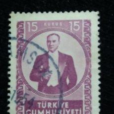 Sellos: TURQUIA, 15 KURUS, KAMAL ATATURK, AÑO 1960, SIN USAR. Lote 176210553