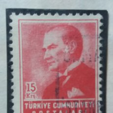 Sellos: TURQUIA, 15 KURUS, KAMAL ATATURK, AÑO 1955, SIN USAR. Lote 176210719