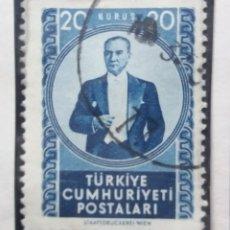 Sellos: TURQUIA, 20 KURUS, KAMAL ATATURK, AÑO 1958, SIN USAR. Lote 176210864