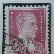 Sellos: TURQUIA, 20 KURUS, KAMAL ATATURK, AÑO 1951, SIN USAR. Lote 176211019