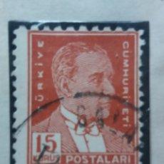 Sellos: TURQUIA, 15 KURUS, KAMAL ATATURK, AÑO 1951, SIN USAR. Lote 176213660