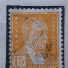 Sellos: TURQUIA, 15 KURUS, KAMAL ATATURK, AÑO 1951, SIN USAR. Lote 176213689