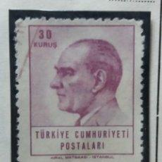 Sellos: TURQUIA, 30 KURUS, KAMAL ATATURK, AÑO 1965, SIN USAR. Lote 176288012