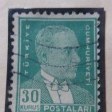 Sellos: TURQUIA, 30 KURUS, KAMAL ATATURK, AÑO 1951, SIN USAR. Lote 176288184