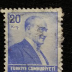 Sellos: TURQUIA, 20 KURUS, KAMAL ATATURK, AÑO 1975, SIN USAR. Lote 176288382