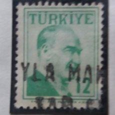 Sellos: TURQUIA, 12 KURUS, KAMAL ATATURK, AÑO 1975, SIN USAR. Lote 176288518