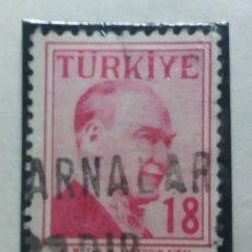 Sellos: TURQUIA, 18 KURUS, KAMAL ATATURK, AÑO 1975, SIN USAR. Lote 176288590