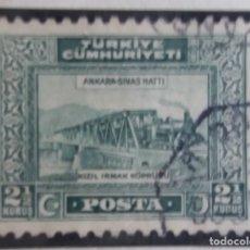 Sellos: TURQUIA, 2,1/2 KURUS, RAILROED, AÑO 1929, SIN USAR. Lote 176289994