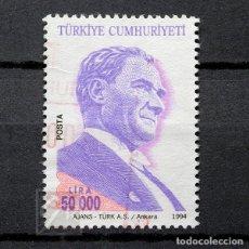 Sellos: TURQUÍA 1994 ~ MUSTAFA KEMAL ATATÜRK: GENERAL Y POLÍTICO ~ SELLO USADO BUENO. Lote 178783068