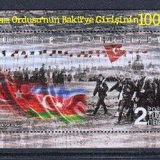 Timbres: TURQUIA 2018 ENTRADA DEL EJERCITO ISLAMICO DE KAFKAS EN BAKU 1918. Lote 180215222