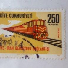Sellos: 1 SELLO DE ** TURQUIA - .TEMA TRENES ** 1971 -. 250 KURUS . Lote 181467243