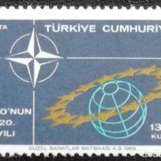 Sellos: 1969. TURQUÍA. 1889. 20 ANIVERSARIO DE LA OTAN. SIMBOLOGÍA. NUEVO.. Lote 182465716