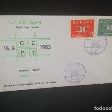 Sellos: SOBRE PRIMER DIA. EUROPA. TURQUIA. ANKARA. ILK GUN ZARFI. 1963.. Lote 185925812