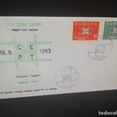 Sellos: SOBRE PRIMER DIA. EUROPA. TURQUIA. ANKARA. ILK GUN ZARFI. 1963.. Lote 185925836