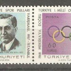 Sellos: TURQUIA, 1967 ,CAT.YT.1839 Y 1840 SE-TENANT ,NUEVOS,GOMA ORIGINAL,SIN FIJASELLOS. . Lote 186433008