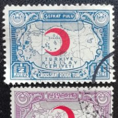 Timbres: 1938. TURQUÍA. SELLOS DE BENEFICENCIA 53, 54. CRUZ ROJA. MAPA DE TURQUÍA. USADO.. Lote 193698940
